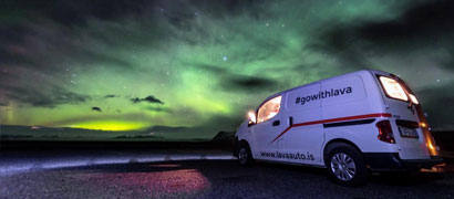 Aurora Borealis Night Ski with Lava Car Rentals Camper Van