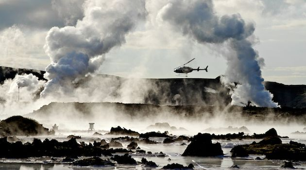 Helicopter Flying over Icelandic Volcano