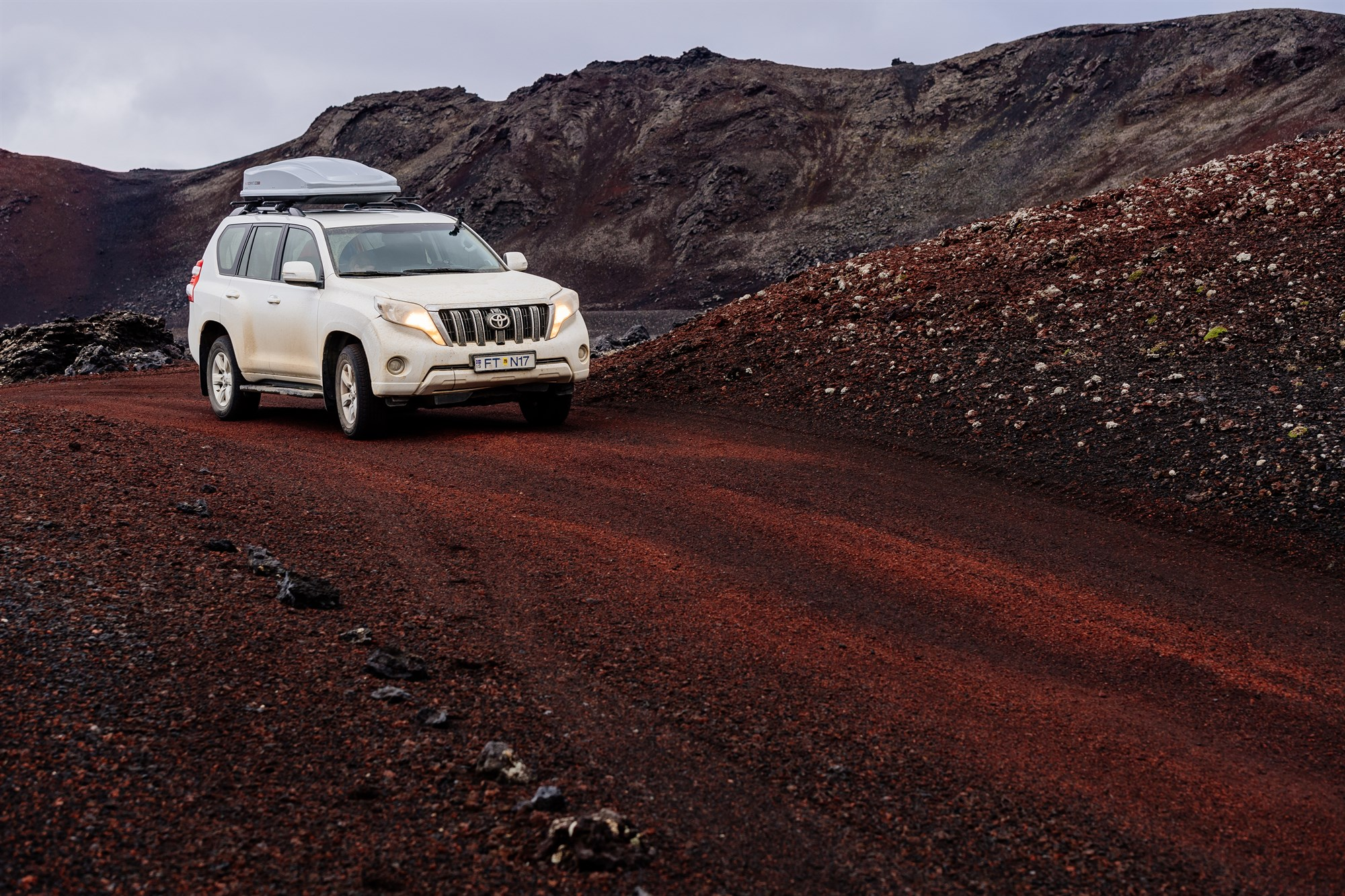 Toyota SUV on Icelandic Red Dirt Road