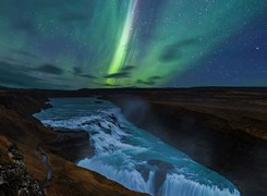 Northern lights at Gullfoss Falls