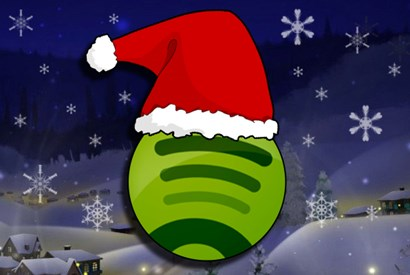 Green Spotify Logo with Red Santa Hat